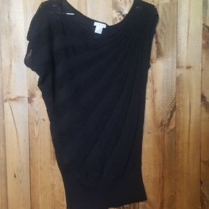 Cache shimmery black top